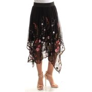 INC Womens Black Embroidered Floral Tea-Length A-Line Skirt  Size: S