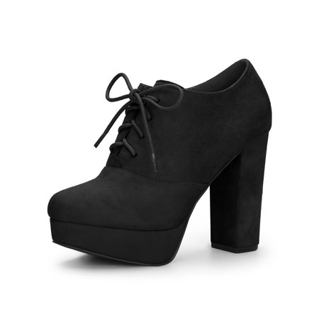 Women's Platform Block Heel Lace Up Ankle Boots Black (Size 6)
