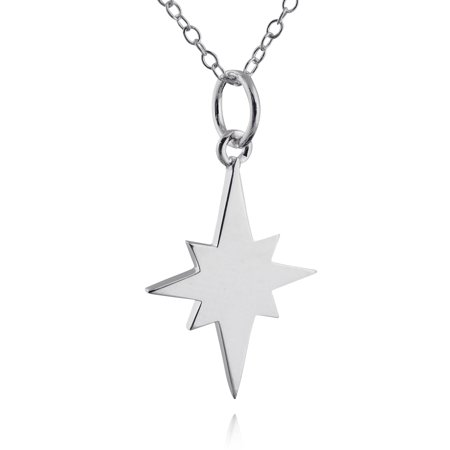"""Sterling Silver North Star Silhouette Pendant Necklace, 18"""" Chain"""