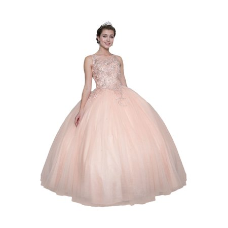 Calla Collection Womens Blush Pink Gold Embroidered Quinceanera Ball Dress