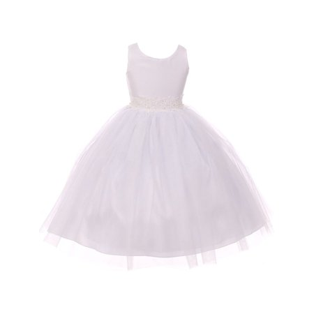 Good Girl Little Girls White Tulle Adorned Overlaid Flower Girl Dress](Little Girls White Dresses)