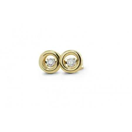 Genuine Natural .12 Carat Dancing Diamond Round Earrings In 14K Rose Gold.