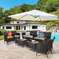 Costway 8PCS Rattan Patio Furniture Set Cushioned Sofa Chair Coffee Table RedBrownTurquoise