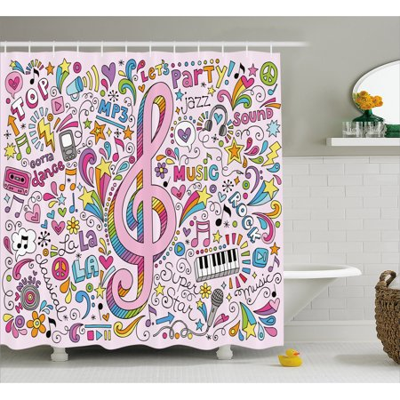 70s Party Decorations Shower Curtain, Music Clef Groovy Psychedelic Doodles Hand Drawn Hippie Symbols Signs, Fabric Bathroom Set with Hooks, 69W X 70L Inches, Multicolor, by Ambesonne (70s Psychedelic Dress)