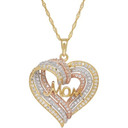 Cz Sterling Silver And 18Kt Gold Plate Tri Color Mom Heart Pendant