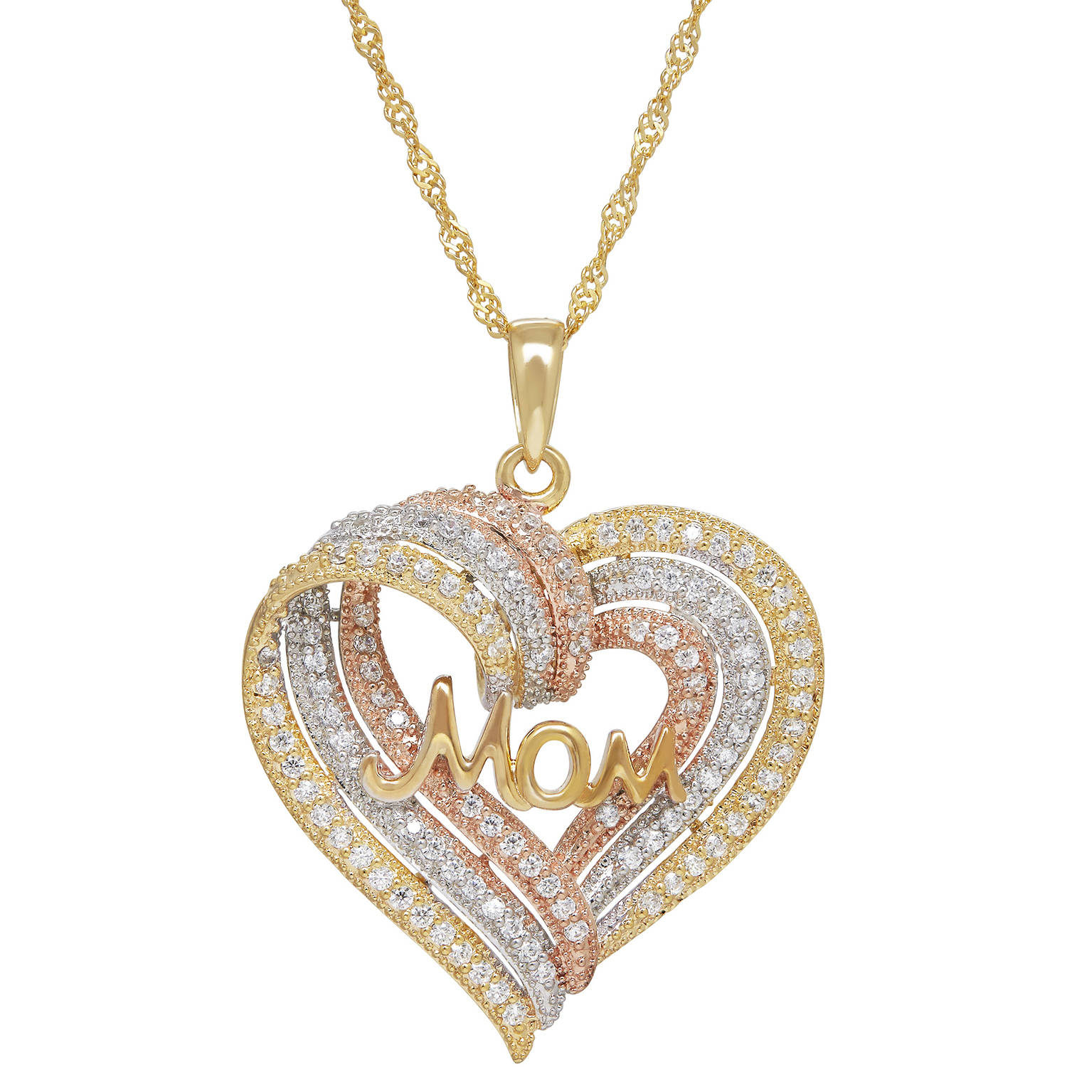 CZ Sterling Silver and 18kt Gold-Plate Tri-Color Mom Heart Pendant
