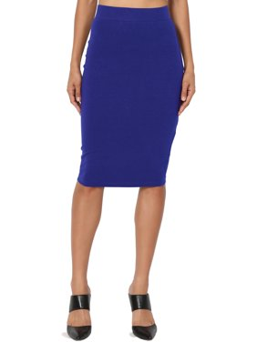 TheMogan Junior's S~3X Elastic High Waist Stretch Cotton Knee Pencil Midi Skirt
