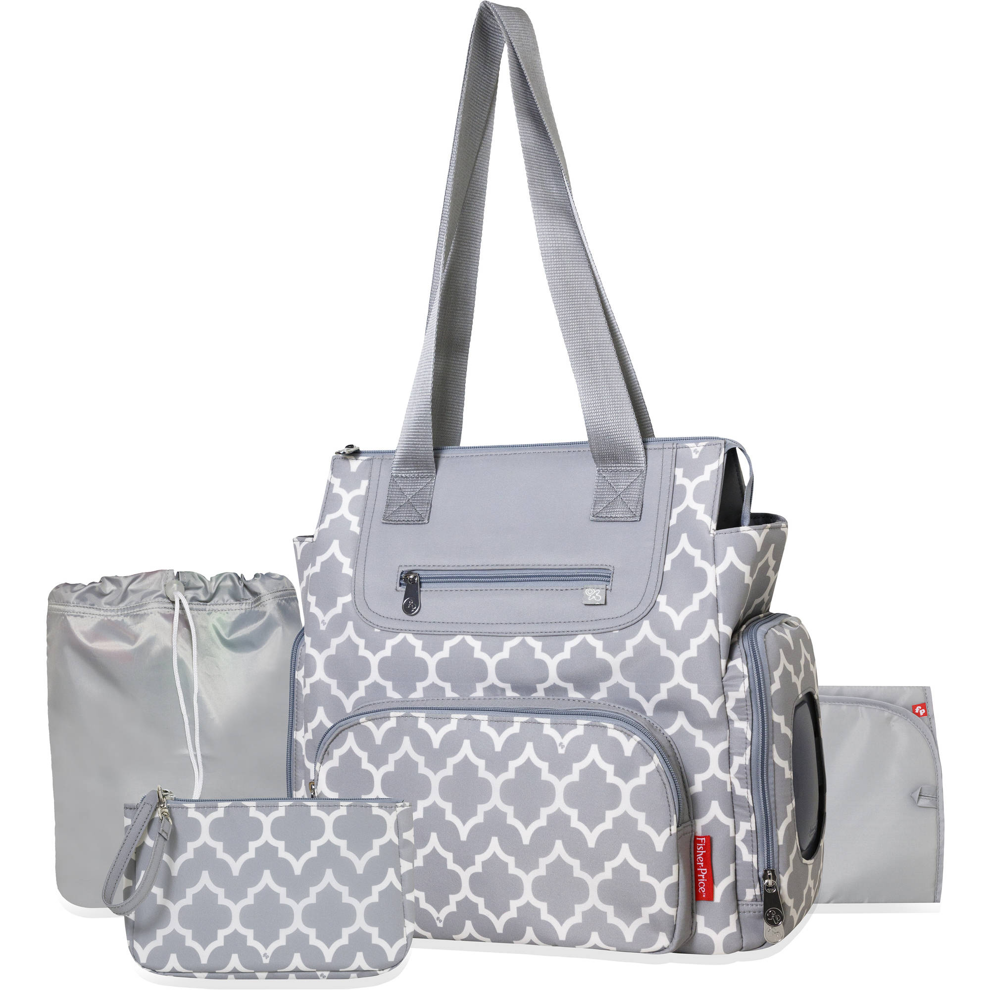 Fisher Price 5-Piece Stroller Tote, Gray Lattice