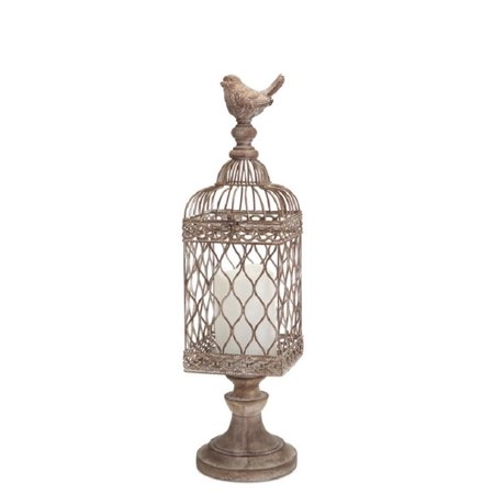 New Romance Square Brown Bird Cage on a Pedestal Pillar Candle Holder 18.5""