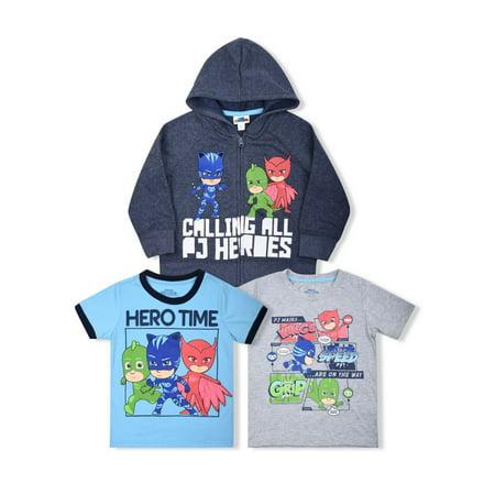 Comfy Hoodie Set - PJ Masks Calling All Heros Hoodie with Graphic Tees, 3-Piece Set (Little Boys)