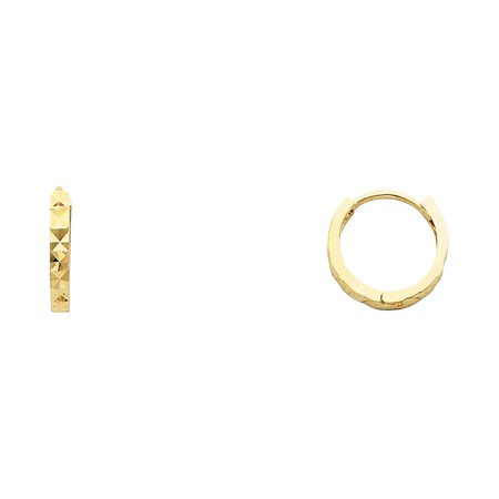 14k Solid Italian Yellow Gold Plain 2 mm Diamond Cut Square Tube Huggies Hoop Earrings 11 mm Diameter