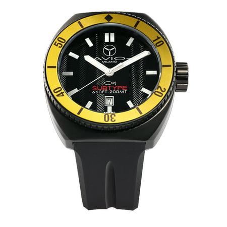 Avio Milano Avi Sub Bk Yw Subtype Yellow Bezel Luminous Dial Date Wristwatch