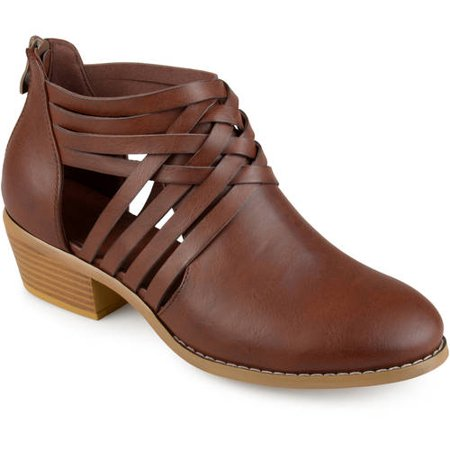 Brown Leather Stacked Heel (Womens Criss Cross Stacked Wood Heel Faux Leather Booties)