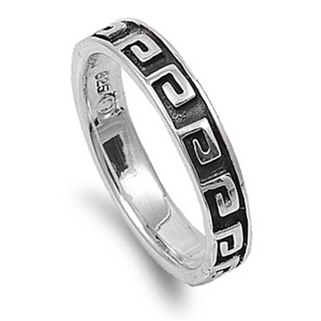 925 Sterling Silver Greek Key - Oxidized Greek Key Eternity Stackable Ring ( Sizes 5 6 7 8 9 ) .925 Sterling Silver Band Rings by Sac Silver (Size 8)