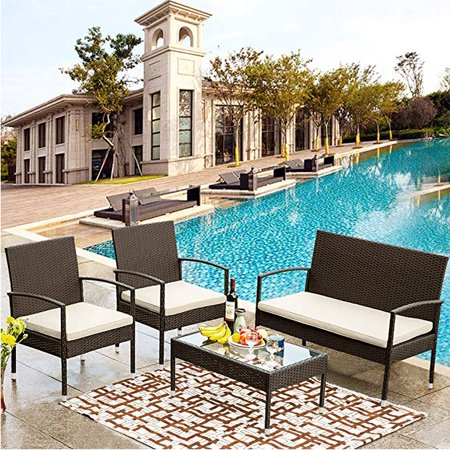 4 Piece Patio Furniture Set, Rattan Wicker Patio Bistro Set, Outdoor Conversation Set with Chairs & Table, Modern Simple Style Combination Set, All-Weather In/Outdoor Furniture Patio Set, Beige, Y0881
