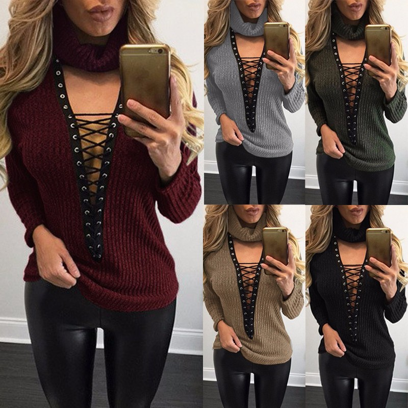 ZANZEA Brand 2017 New Plus Women Seep V Neck Lace-up Ribbed Knit Sweater Loose Sexy Choker Tops Jumper,Wine Red color