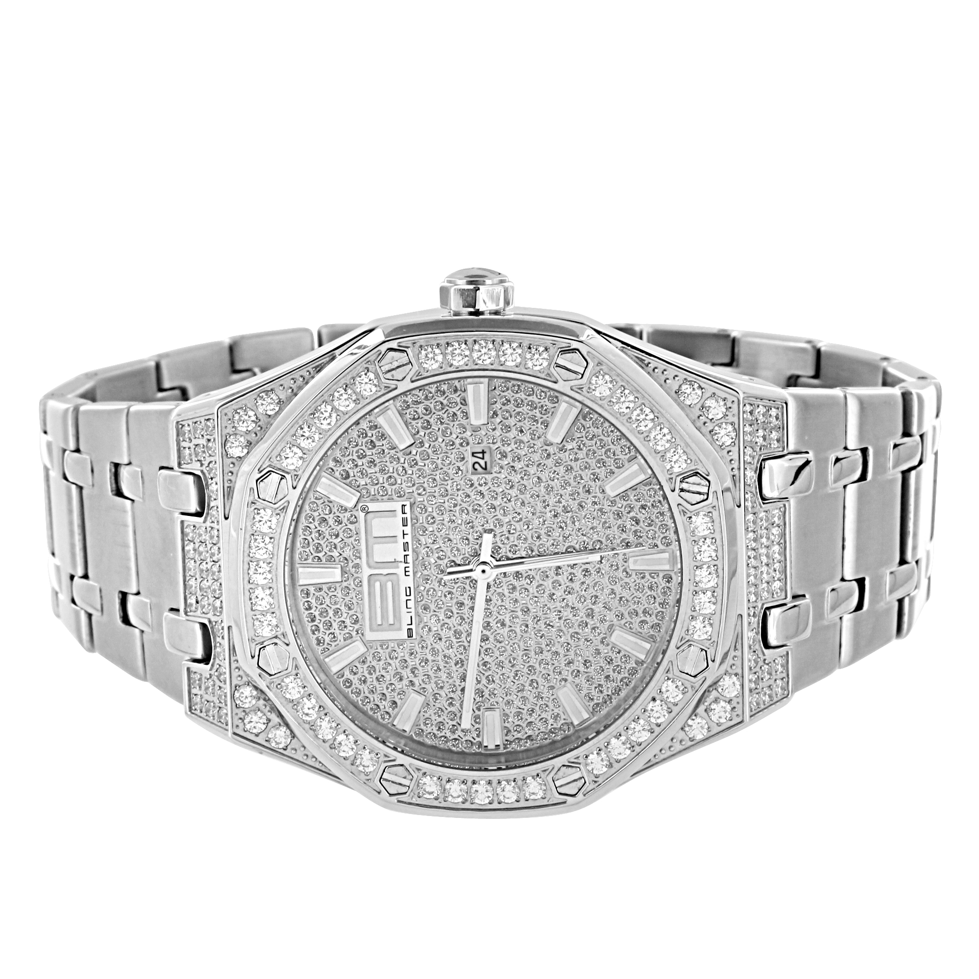 Iced Out Mens Watch Hip Hop Simulated Diamonds Steel Back...
