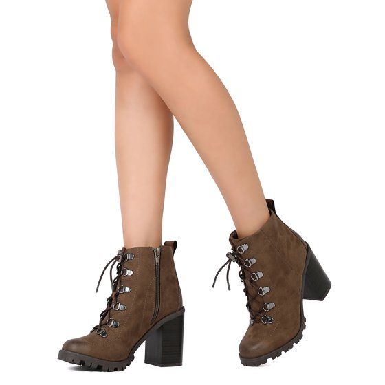 f16c2187961 Qupid - Women Faux Suede Lace Up Chunky Heel Lug Sole Bootie FE92 ...