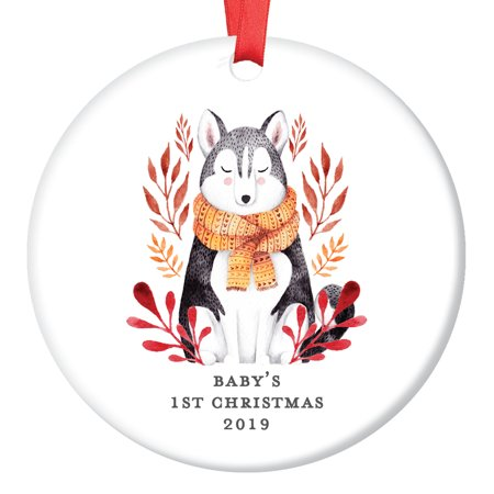 Gender Neutral Baby's First Christmas Ornament 2019, Baby Wolf Ornaments, Husky Dog Boy Girl Shower Gift Newborn Present Ceramic Present 3