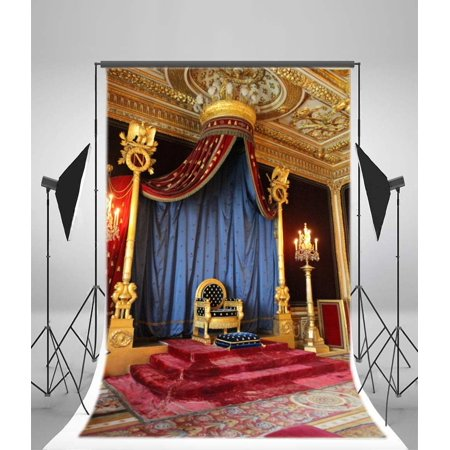 HelloDecor Polyester Palace King's Throne Backdrop 5x7ft Candles Curtain Carpet Ceiling Building Tourism School Drama Background Children Fairytale - Hollywood Red Carpet Backdrop