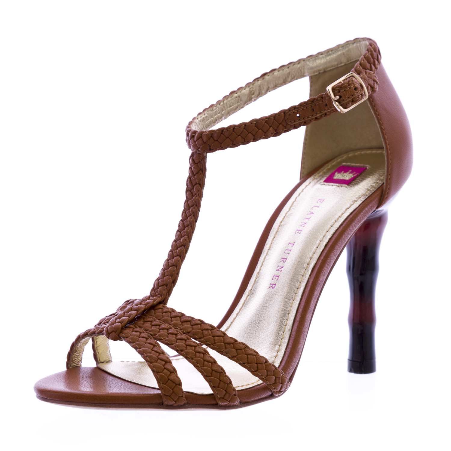ELAINE TURNER Briana-SP12 Ribbed Heel Sandals Cognac