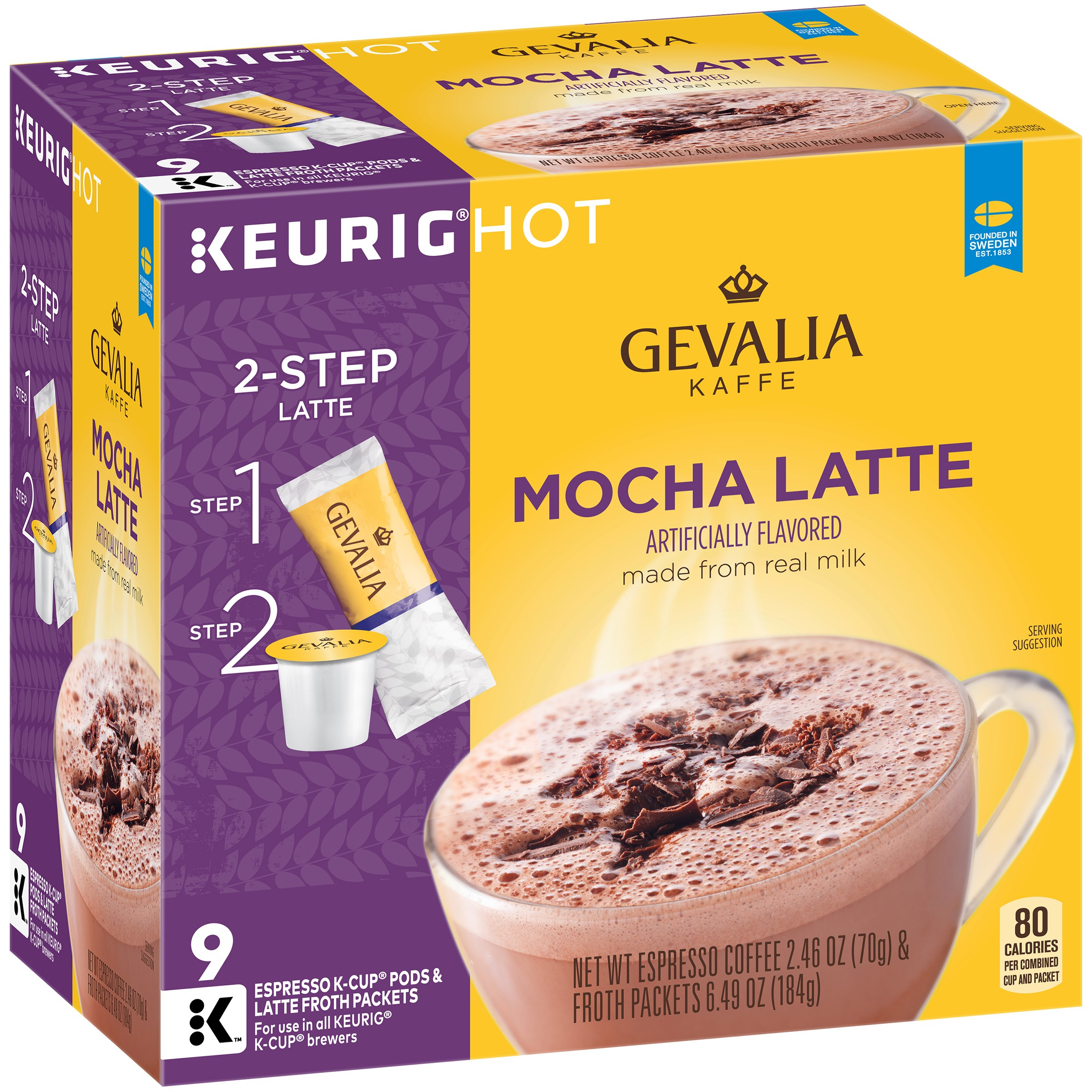 Gevalia Mocha Latte Espresso Coffee K-Cup® Packs & Froth Packets 9 ct Box 4300005841