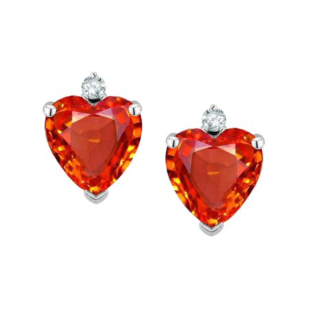 Star K Clic Heart Shape 2 Stone Simulated Orange Mexican Fire Opal Earrings Studs
