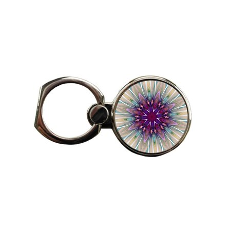 Fractal Floral Mandala Round Ring - Phone Holder Stand in Silver (Fractal Jewelry)