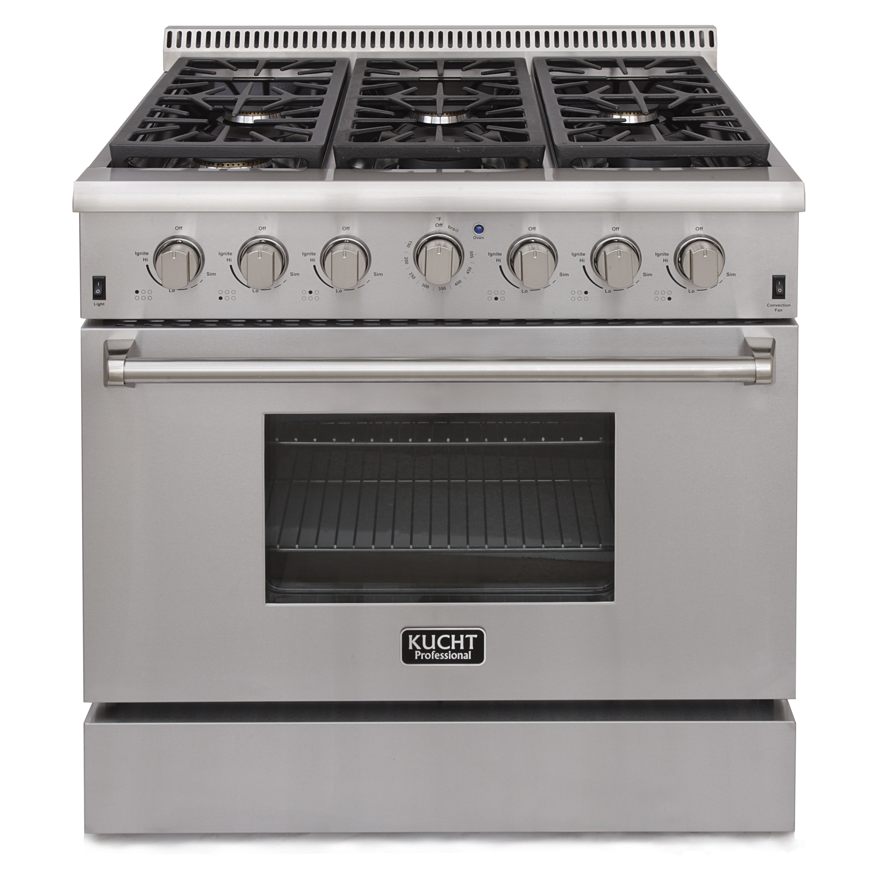 KUCHT Professional 36 in. 5.2 cu. ft. Natural Gas Range with Sealed Burners and