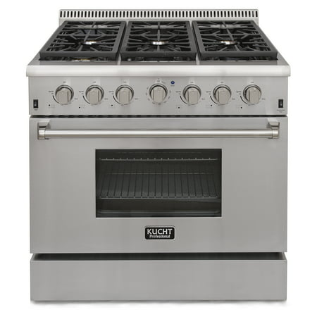 KUCHT Professional 36 in. 5.2 cu. ft. Natural Gas Range with Sealed Burners and Convection Oven in Stainless Steel