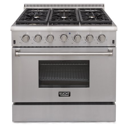 KUCHT Professional 36 in. 5.2 cu. ft. Natural Gas Range with Sealed Burners and Convection Oven in Stainless