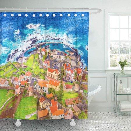 PKNMT Architecture Porto Moniz Madeira Island Portugal Atlantic Beach Building Cape City Bathroom Shower Curtain 66x72 inch