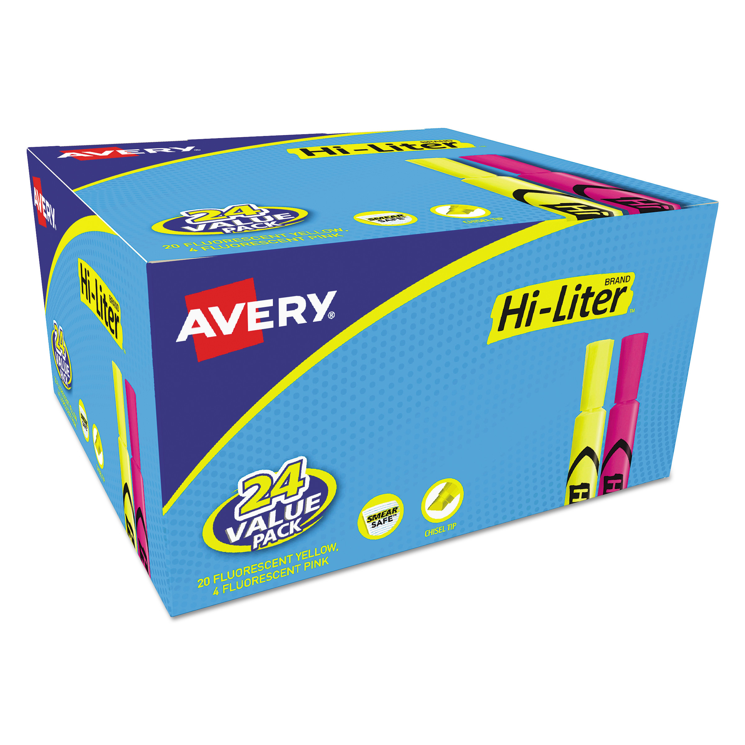 Avery HI-LITER Desk-Style Highlighter, Chisel, Assorted Colors, 24 Pack by AVERY-DENNISON