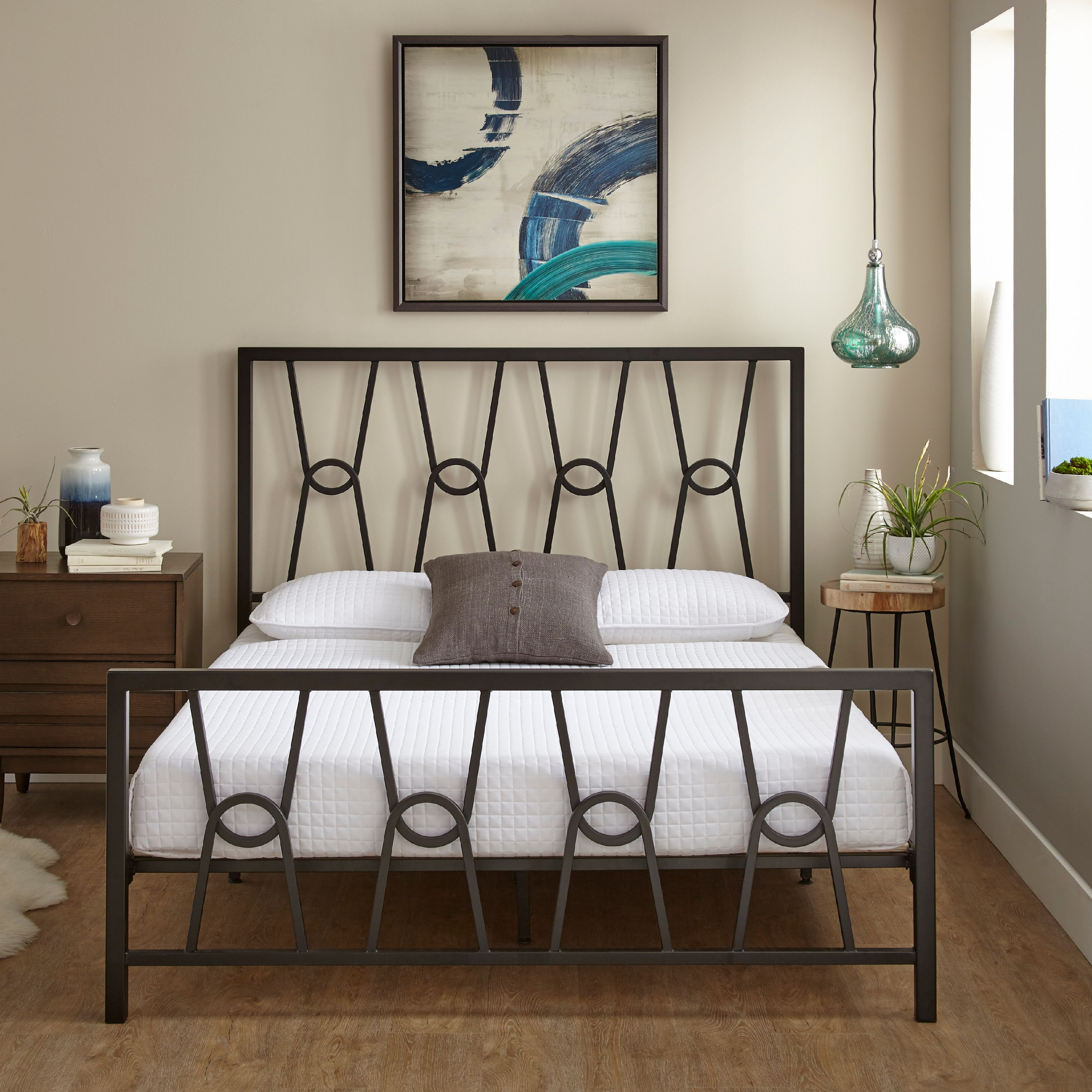 Premier Mathis Platform Metal Bed Frame with Bonus Base Wooden Slat System, Multiple Sizes
