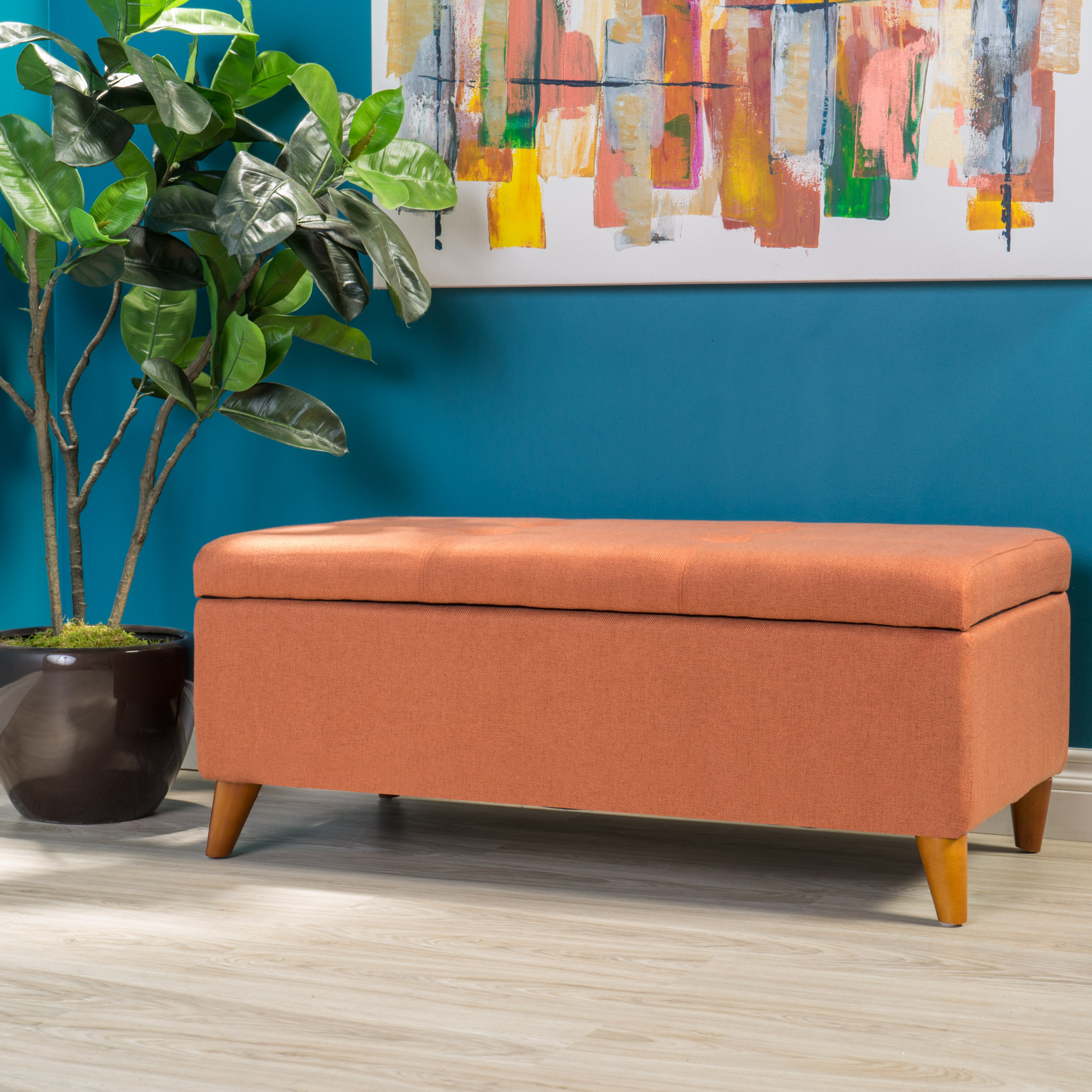 Noble House Hayden Orange Fabric Storage Ottoman