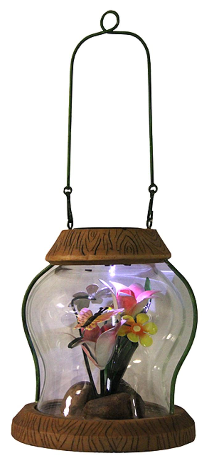 """7"""" LED Lighted Solar Powered Outdoor Garden Lantern with Flowers by CC Outdoor Living"""
