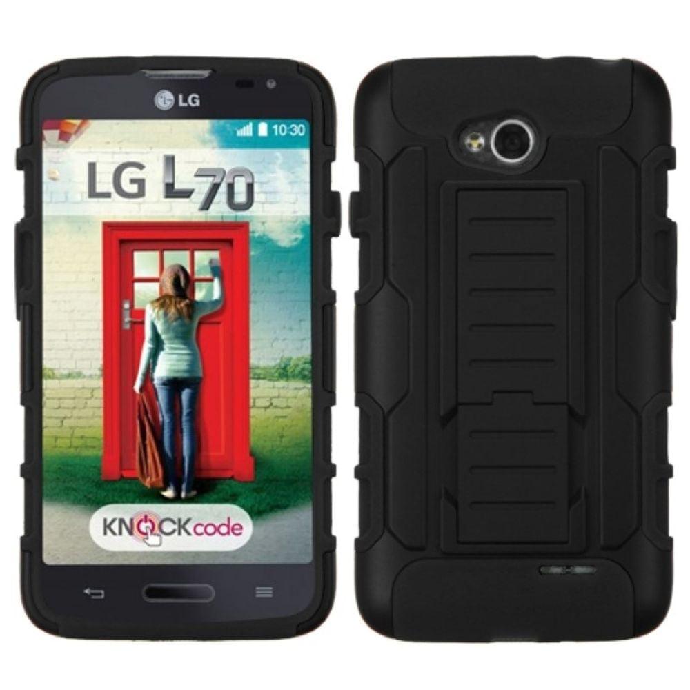 Insten Black/Black Hybrid Tough Thin Premium Case For LG Optimus L70 Optimus Exceed 2 Dual D325 - image 3 de 3