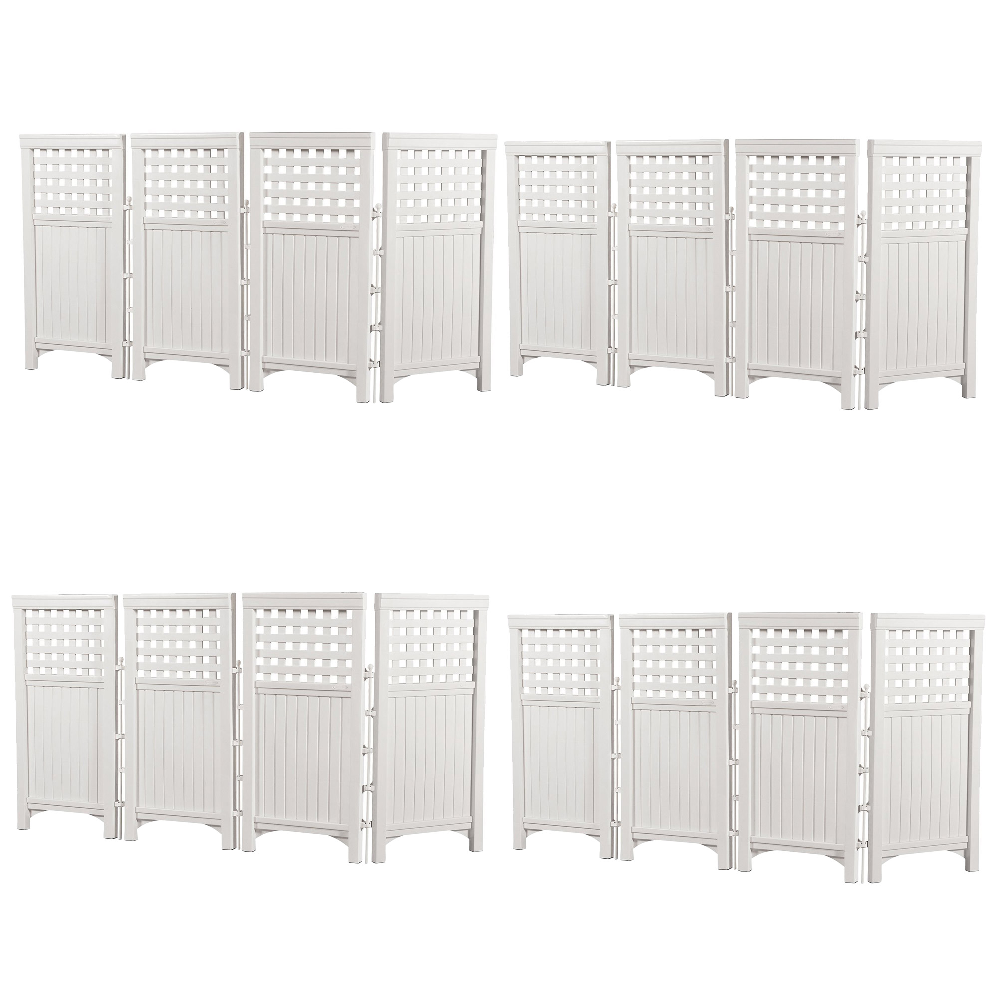 Suncast Outdoor Garden Yard 4 Panel Screen Enclosure Gated Fence, White (4 Pack) by Suncast