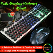 Wired Rainbow LED Backlit Mute Ergonomic Gaming Keyboard + Mouse + Mouse Pad