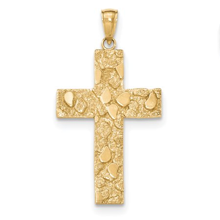 - 14K Yellow Gold Gold Polished and Textured Nugget Block Style Cross Pendant