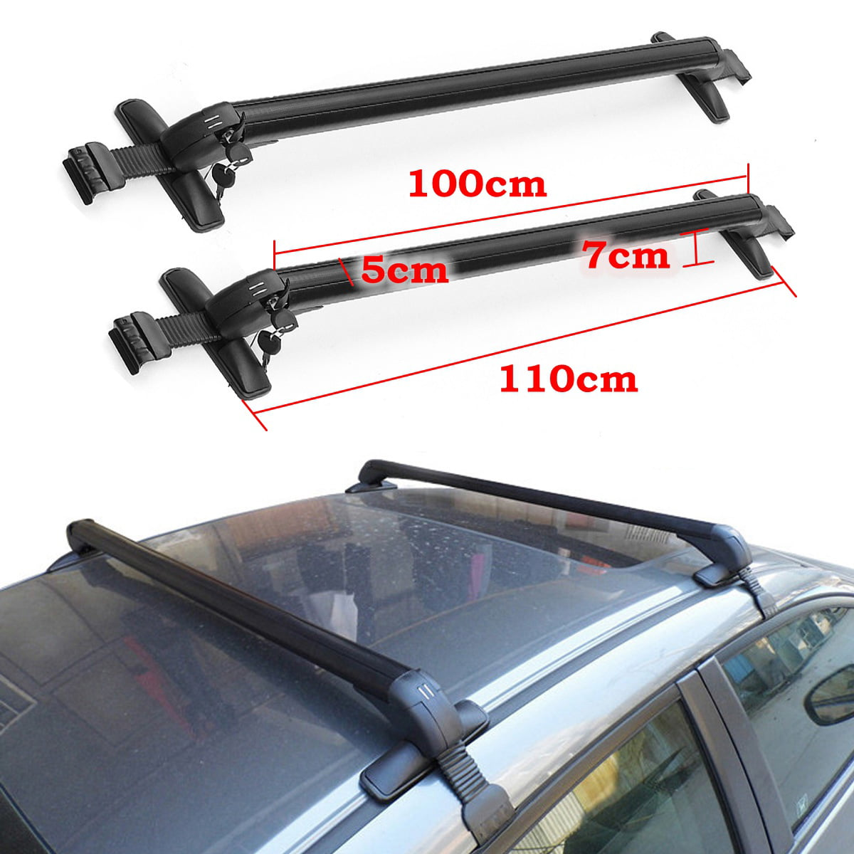 "41.3/"" Car Roof Rack Aluminum Adjustable Cross Bar Luggage Carrier Window"