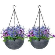 VIVOSUN 2 Pieces Hanging Planter Self Watering Hanging Basket Flower Plant Pot Dark Grey
