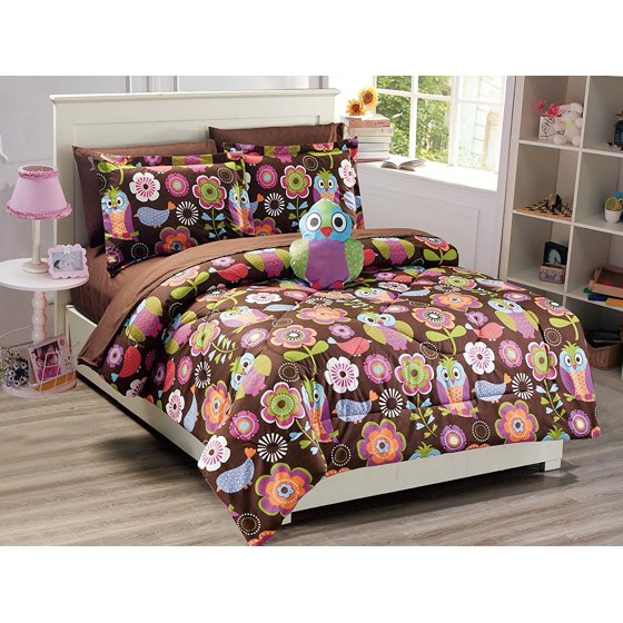 Mk Collection 6 Pc Twin Size Owl Brown Purple Pink Green