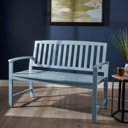 Noble House Carrie Acacia Wood Bench, Light Blue ()