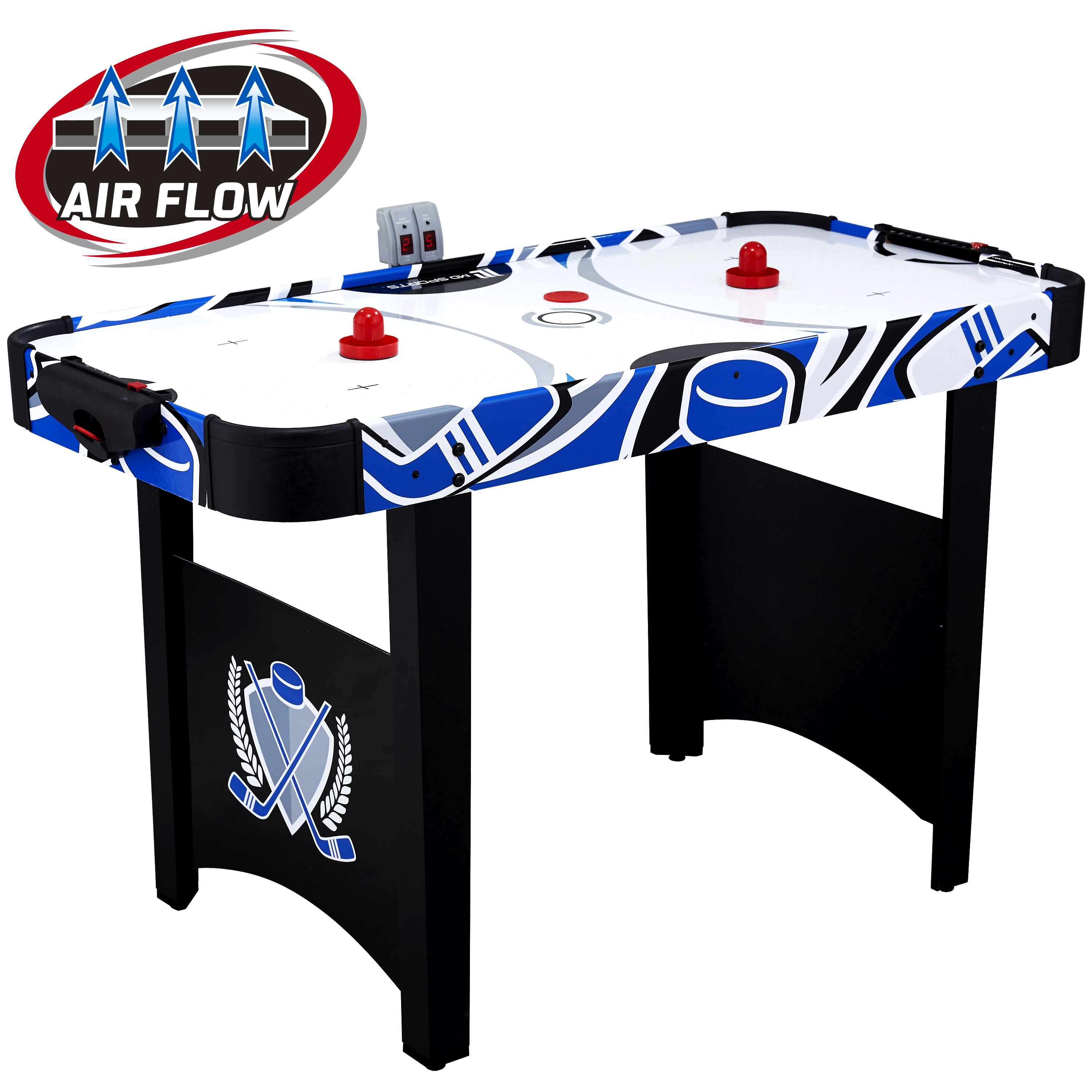 "Click here to buy MD Sports 48"" Air Powered Hockey Table, LED scorer, Accessories included, Black Blue by Medal Sports."