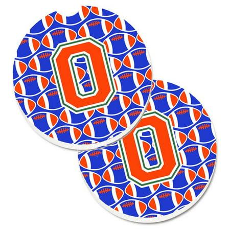 Letter O Football Green with Blue & Orange Set of 2 Cup Holder Car Coaster - image 1 de 1