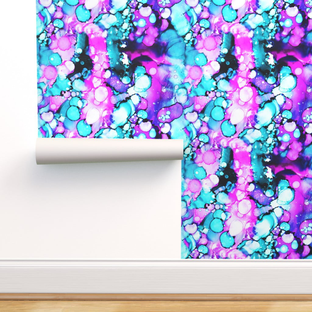 Peel-and-Stick Removable Wallpaper Purple Aqua Abstract Teal Mermaid Baby Girl