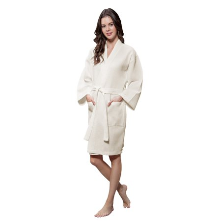 Lightweight Cotton Blend Women Waffle Kimono Spa Robe (Small/Medium, Beige) Cotton Extra Long Robe