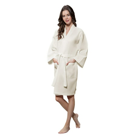 Lightweight Cotton Blend Women Waffle Kimono Spa Robe (Small/Medium, Beige) - Princess Leia White Robe
