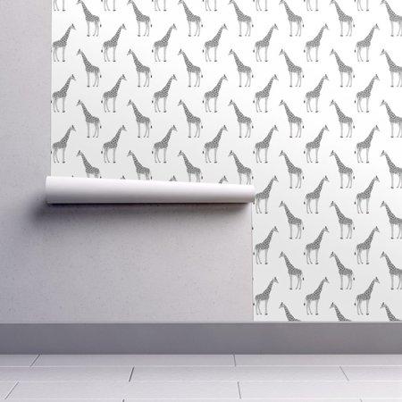- Peel-and-Stick Removable Wallpaper Grey Giraffes Safari Bedroom Childrens Zoo